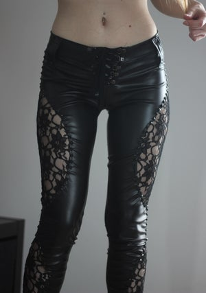 Image of LORELEI BLACK LACE LEATHER PANTS