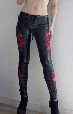Image of LORELEI PINK LACE STUDDED LEATHER PANTS
