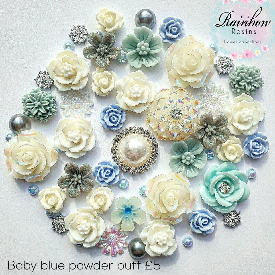 Image of Baby blue powder puff