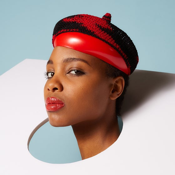 Image of Crochet  beret cover  (red pvc hat not included)