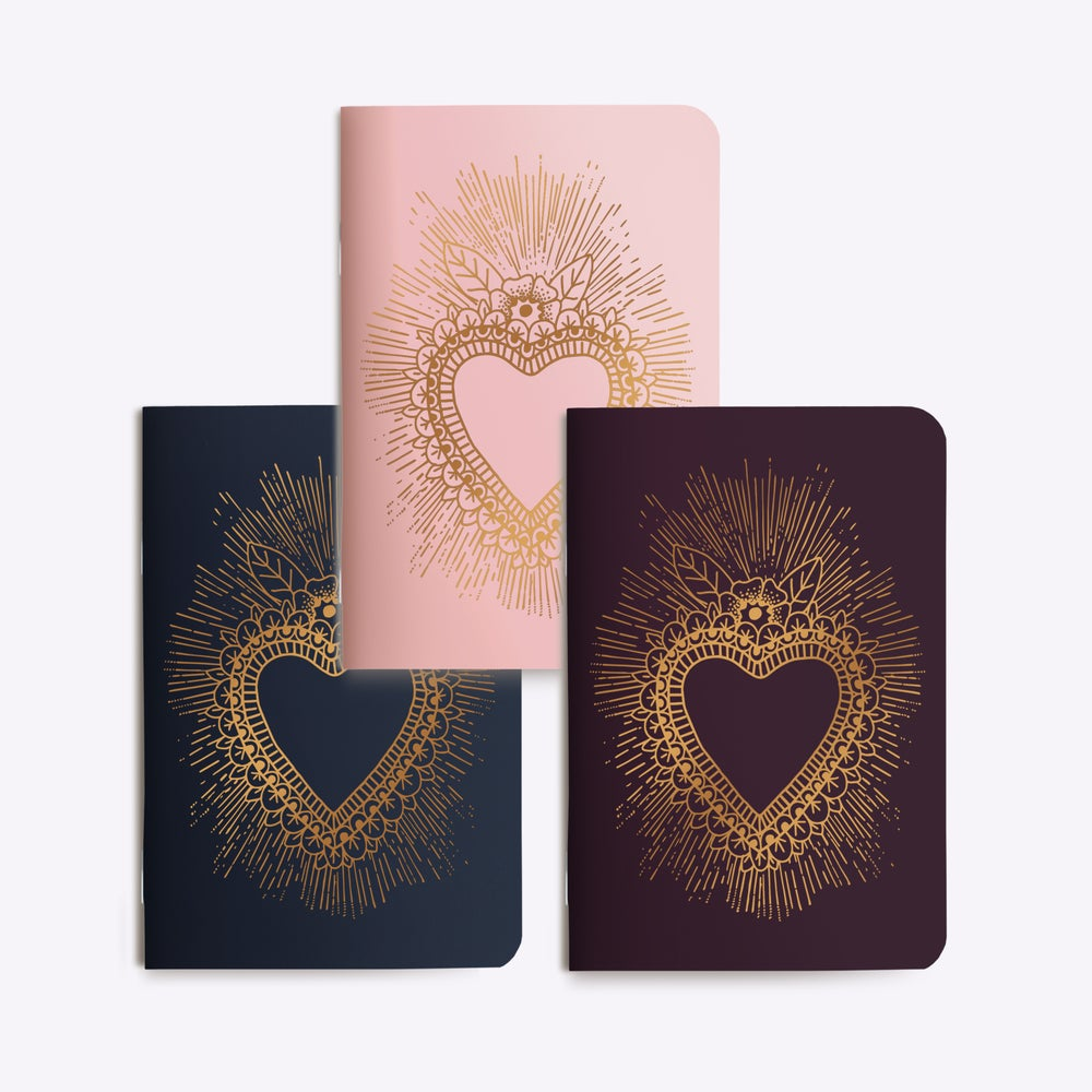 Image of TRIO PETITS CARNETS COEUR