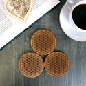 Engraved Flower of Life Wooden Drinks Coasters