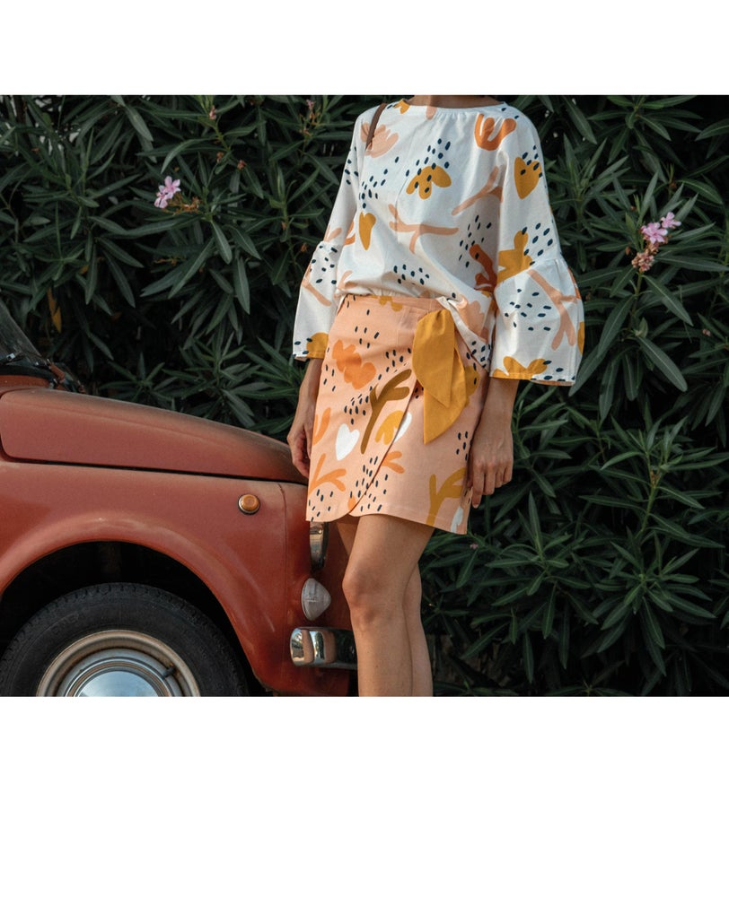 Image of Coral Wrapped Skirt