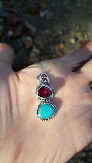 Image of Watermelon Tourmaline and Turquoise Gemstone Sterling Silver Pendant