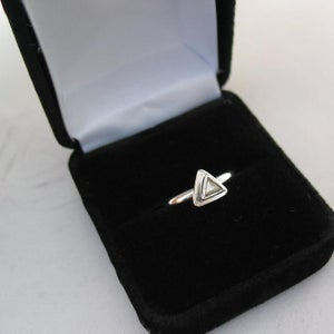 Image of Raw Diamond Engagement Sterling Silver Ring Size 7