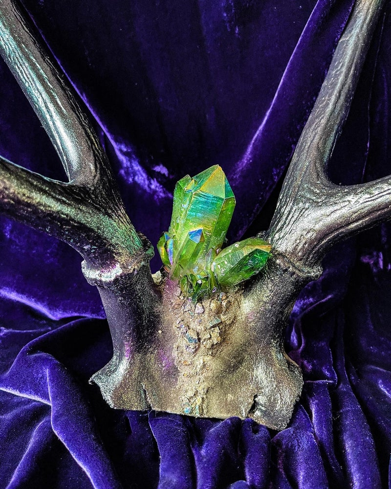 Image of Pyrite & Green Titanium Quartz - Deer Antler Jewelry Display