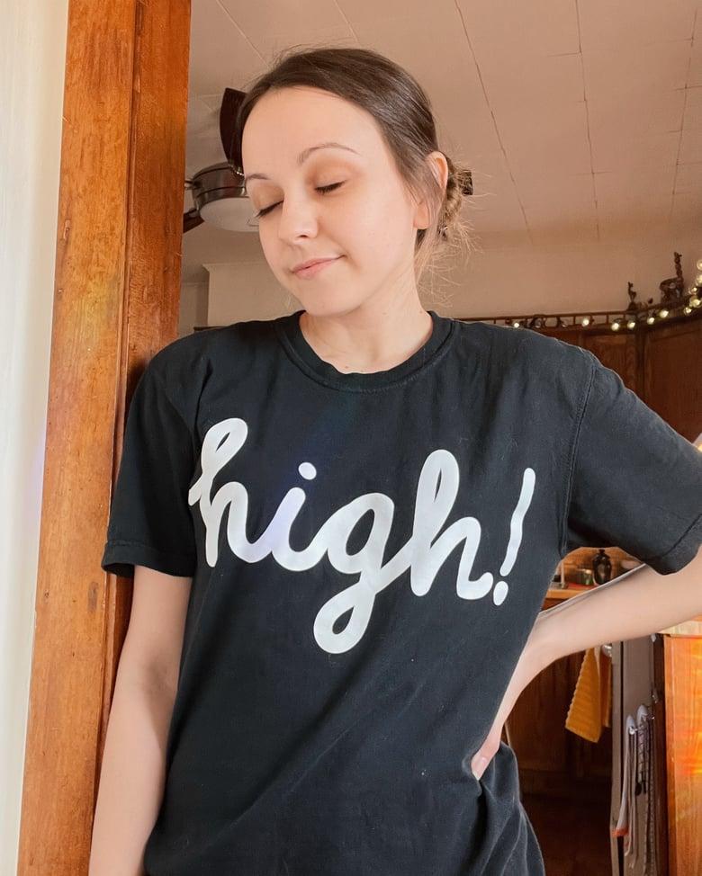 Image of high! Black T-Shirt (white logo)