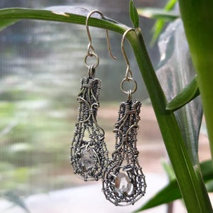 Image of Heady Wire Wrap Quartz Crystal Earrings in Sterling Silver