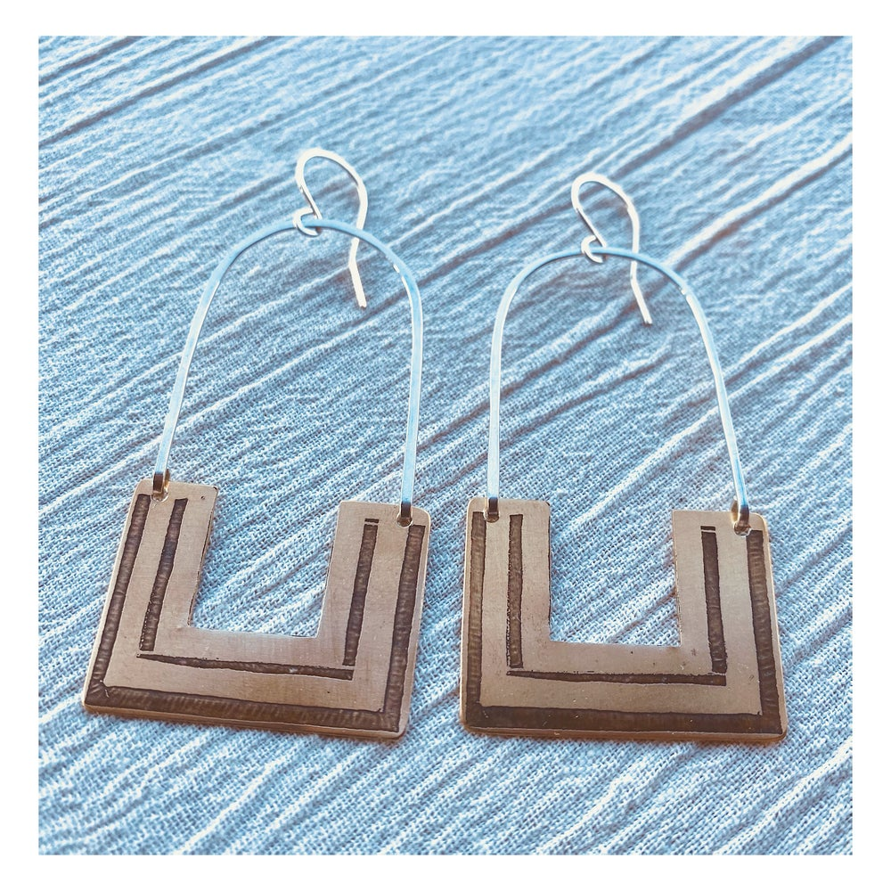 Image of Medium Square Hoops mixed metals