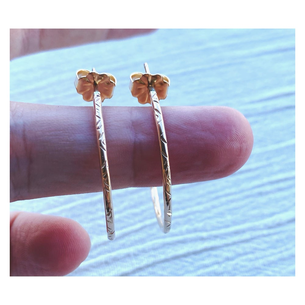 Image of Small Stamped 14K. Gold Fill Post Hoops