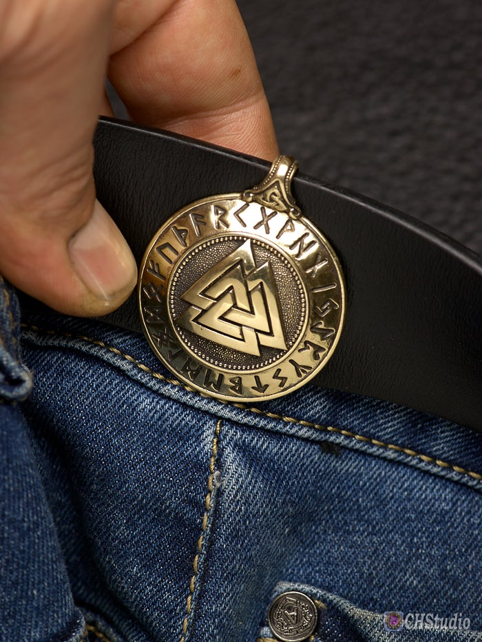 Valknut with Futark Runes - pendant, bronze, handmade