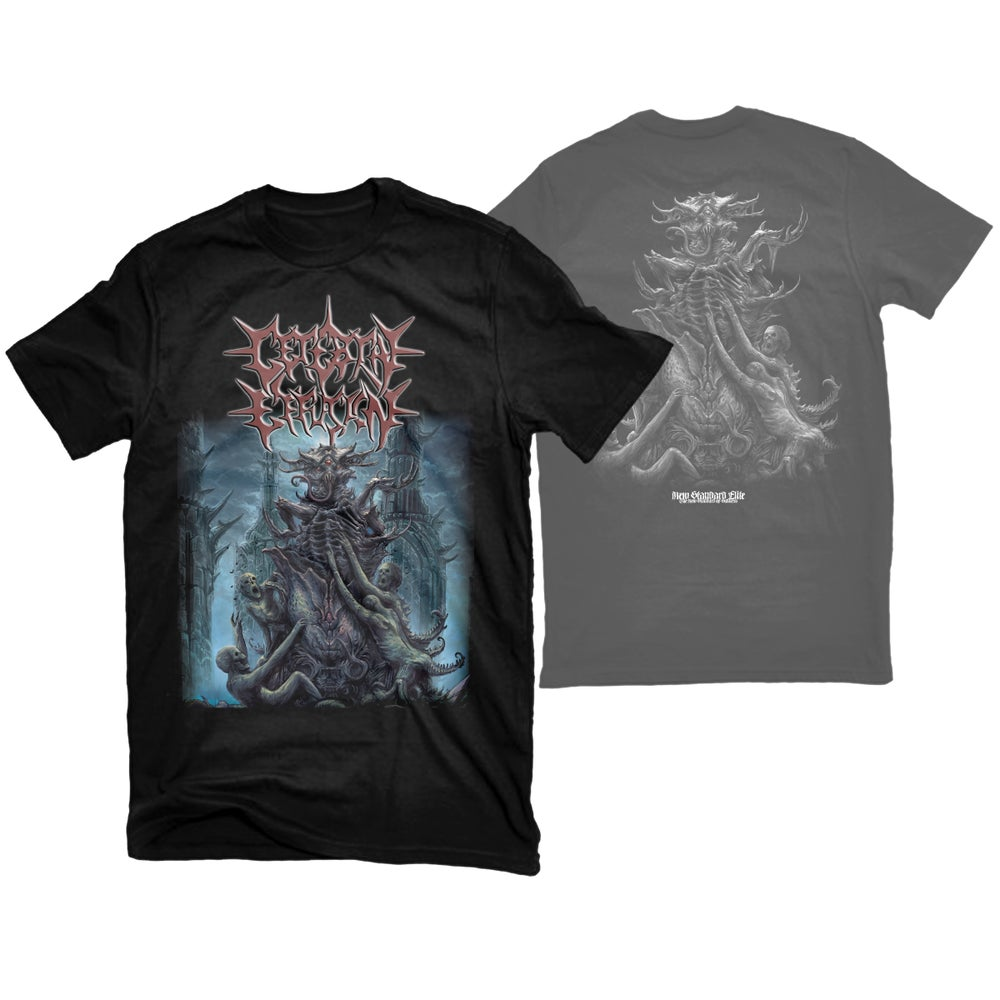 """Image of CEREBRAL EFFUSION """"IDOLATRY OF THE UNETHICAL"""" T-SHIRT"""