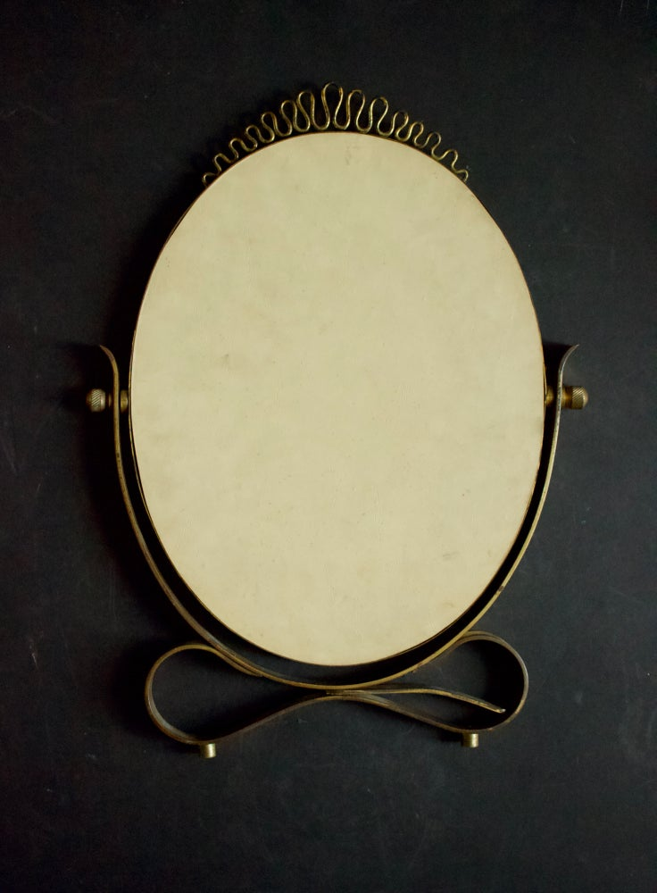Image of Brass Table Mirror with Distressed Plate, Style of Gio Ponti, Italy