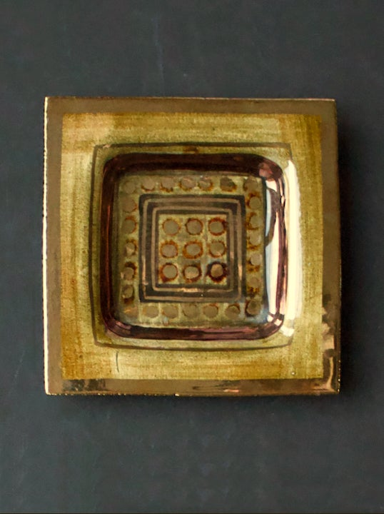 Image of Pelletier Ceramic Vide-Poche or Decorative Plate in Deep Gold Tones