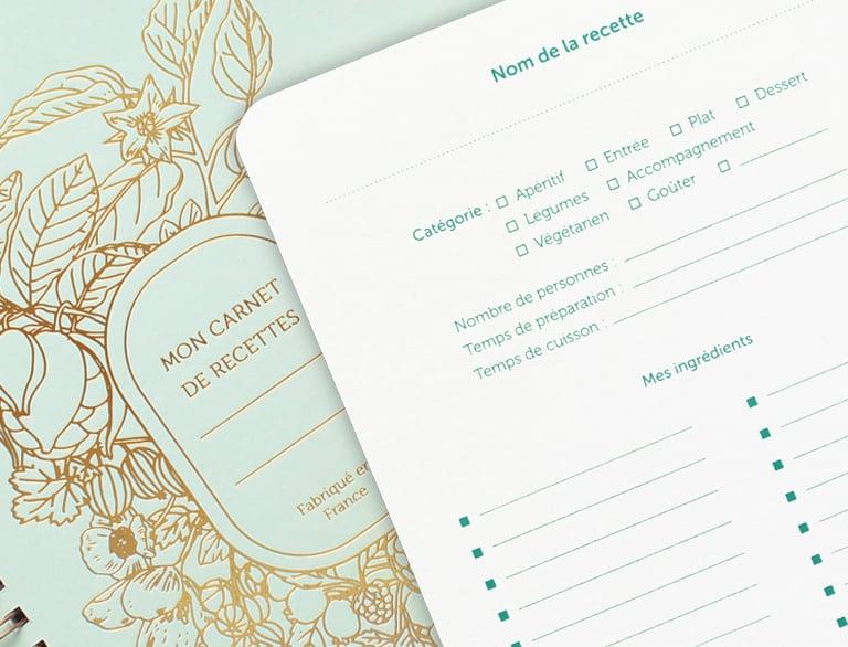 Image of CARNET DE RECETTES ABONDANCE vert d'eau