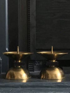 Image of Pair of Large Art Deco Brass and Wood Candleholders