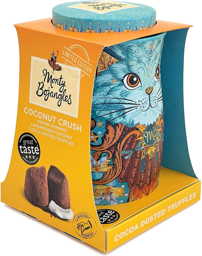 Image of LIMITED EDITION Monty Bojangles Spirit Blue Cat Tin - Coconut Crush Truffles