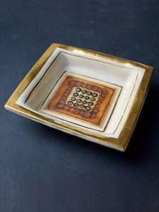 Image of Pelletier Ceramic Vide-Poche or Decorative Dish in Off-White and Gold