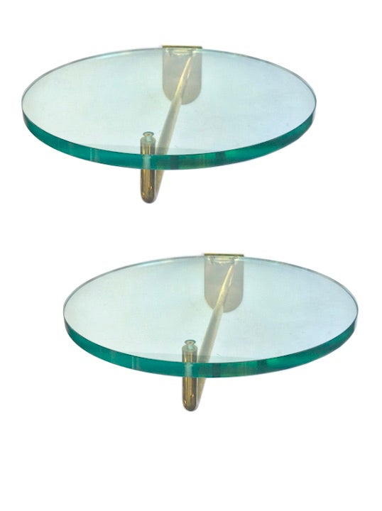 Image of Pair of Circular Glass and Brass Display Shelves, 20th Century, European