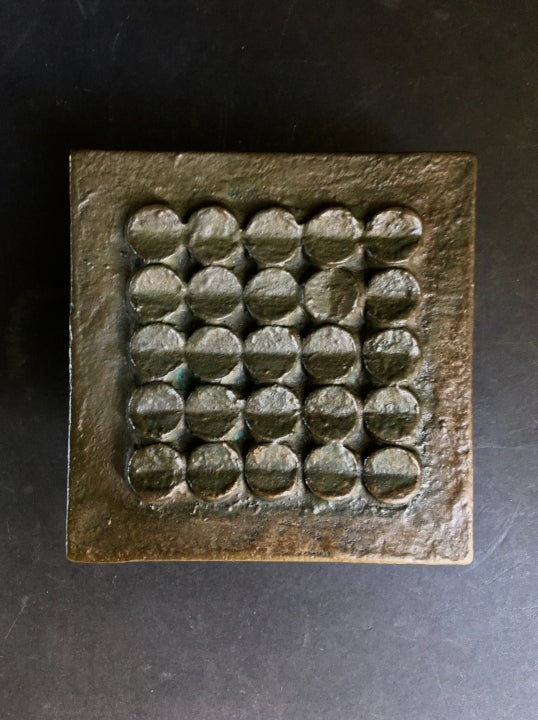 Image of Bronze Door Handle & Bell Push Plate with Modernist Circle Pattern