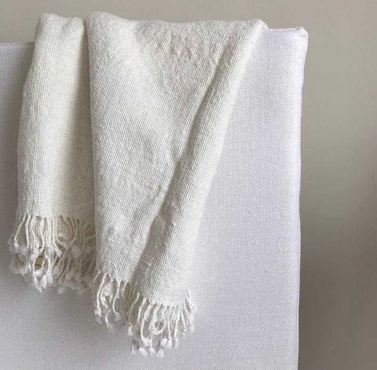 Image of Soft White Cotton Fringe Towel