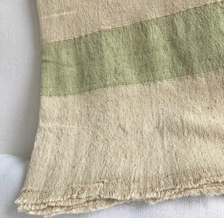 Image of Oversized Raw Cotton Throw - Sage