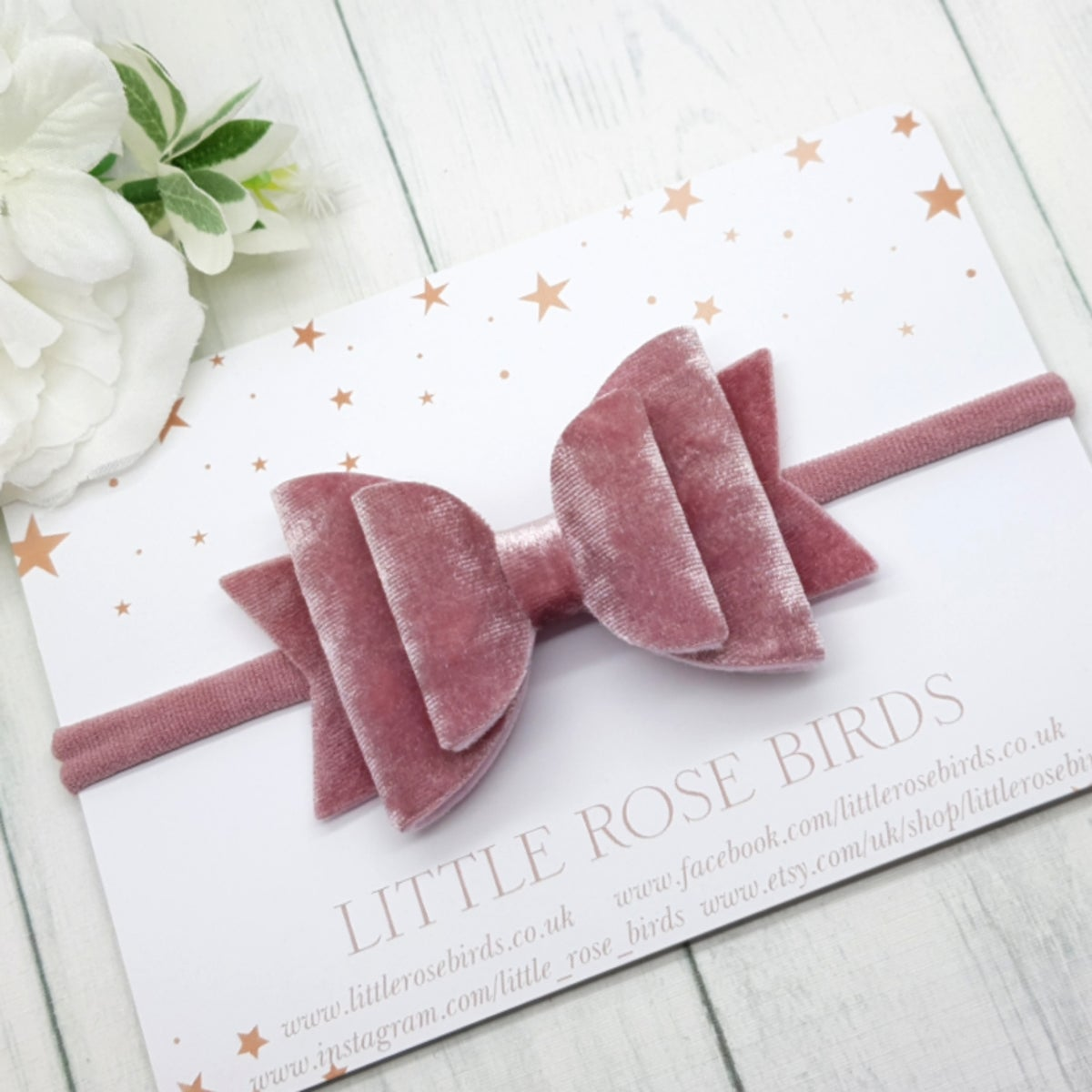 Image of Dusky Pink Velvet Bow - Choice of Headband or Clip