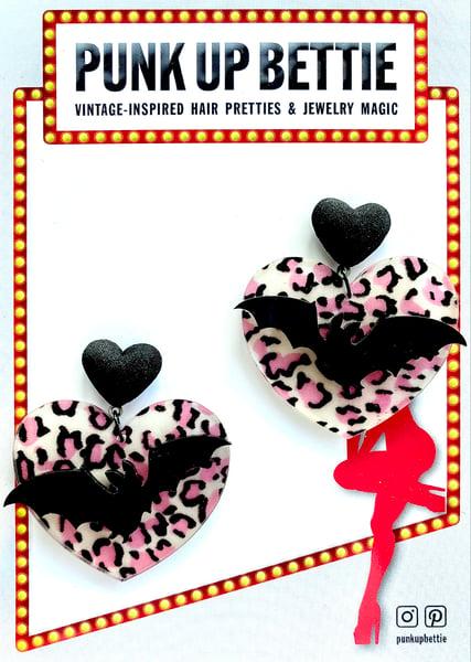 Image of Batty Leopard Sweetheart Earrings