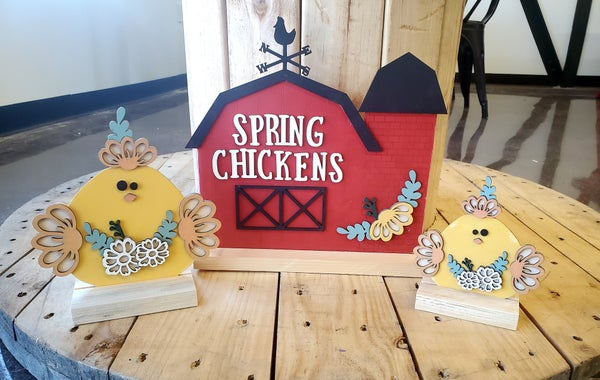 Image of 3D Floral Chickens & Barn Set