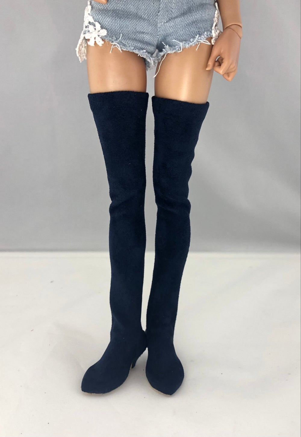 Navy Suede Thigh High Boots: Minifee