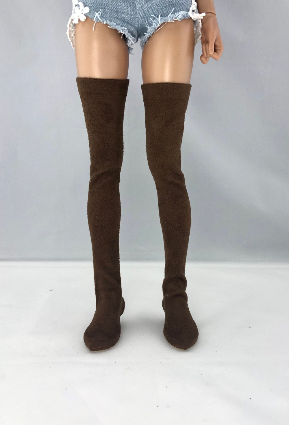 Brown Suede Thigh High Boots: Minifee