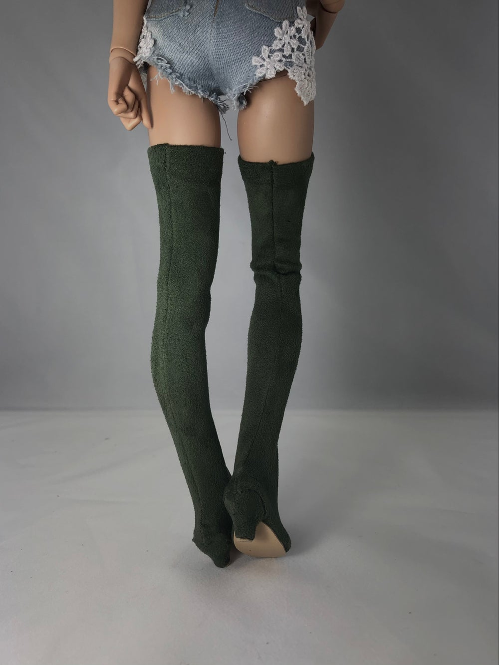 Olive Suede Thigh High Boots: Minifee