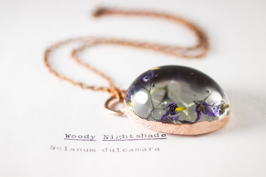 Image of Woody Nightshade (Solanum dulcamara) - Copper Plated Necklace #6