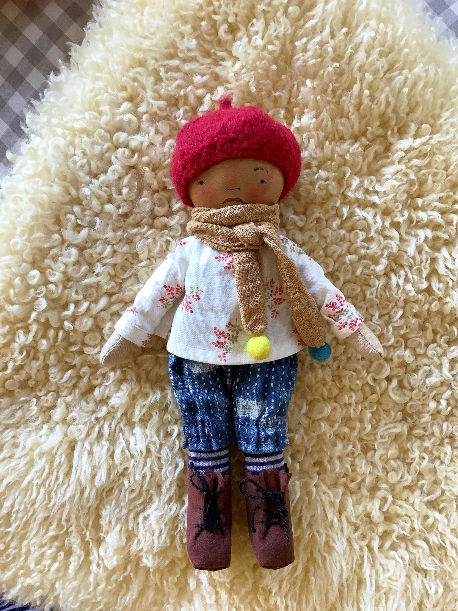 Image of Mini Madchen Cloth and Wood Art Doll : Blond w/ Cherry Beret