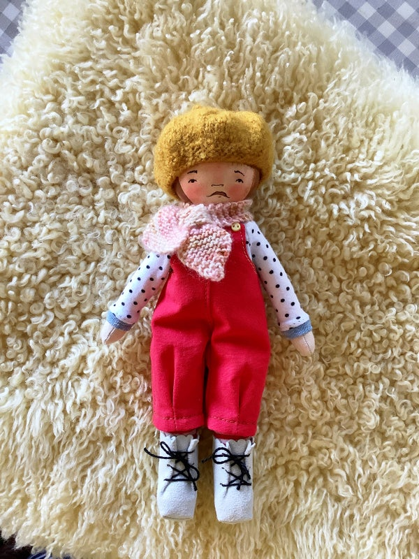 Image of Mini Madchen Cloth and Wood Art Doll : Brunette w/ Mustard Beret