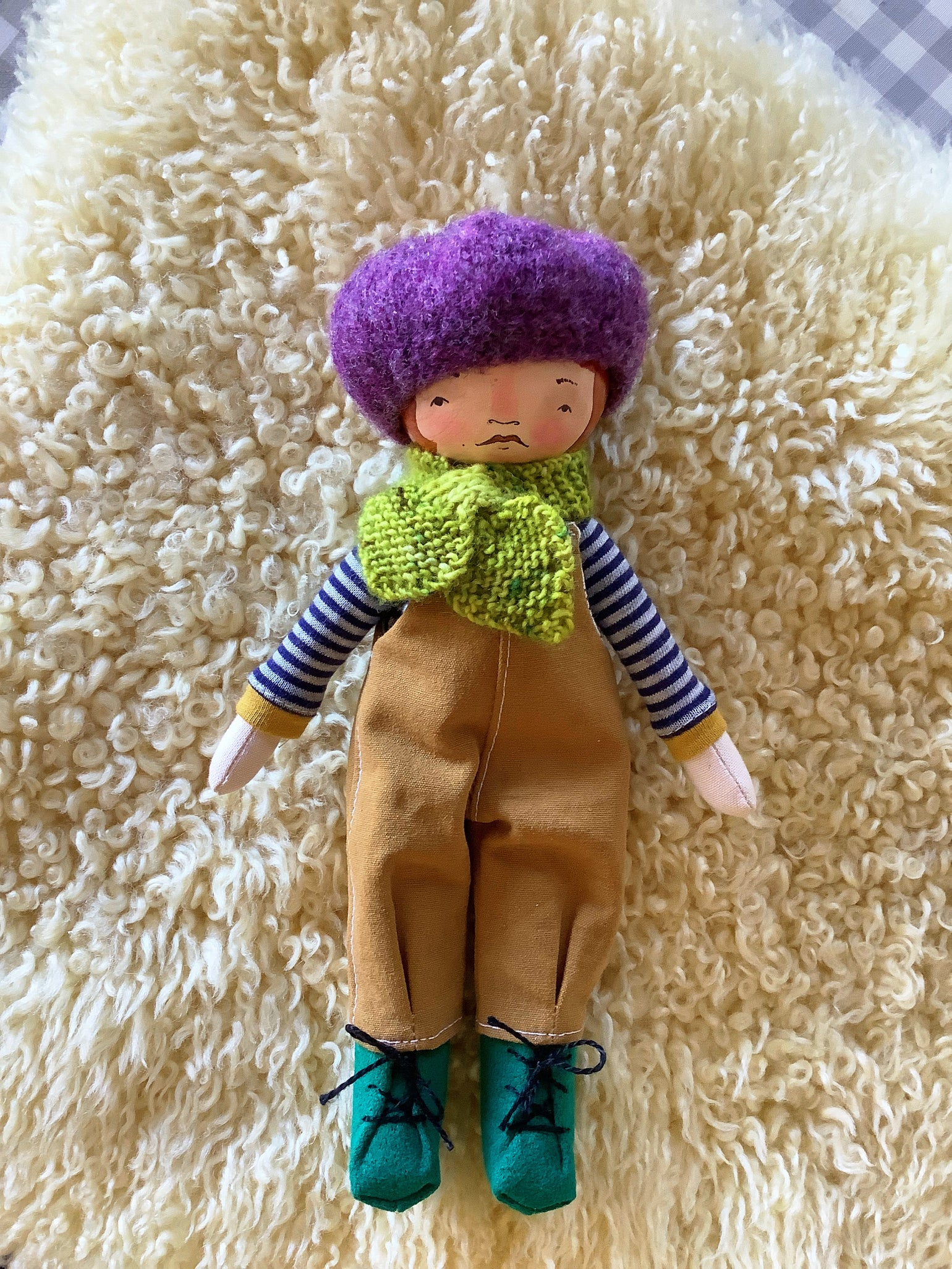 Image of Mini Madchen Cloth and Wood Art Doll : Ginger w/ Grape Beret