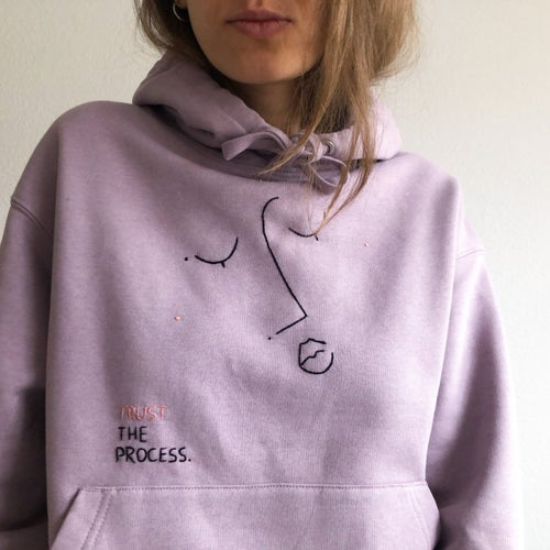 Image of Trust the process - hand embroidered organic cotton hoodie, Unisex, available in ALL sizes