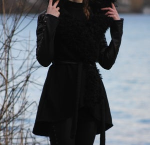 Image of FAUX FUR SHEARLING STUDDED LEATHER AND JERSEY COAT