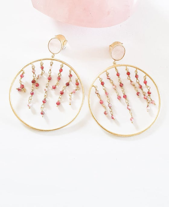 Image of Rose Quartz and Ruby Hoop Earrings