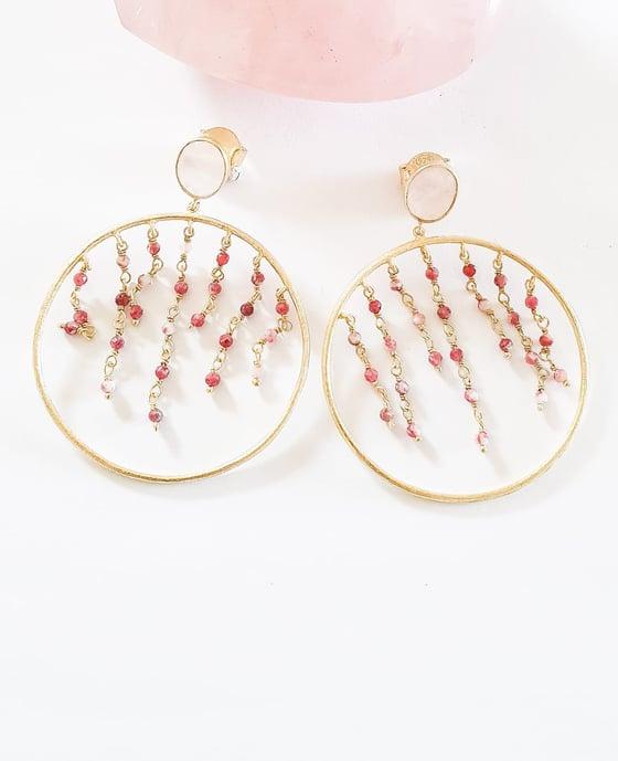 Image of Rose Quartz and Ruby Hoop Earrings