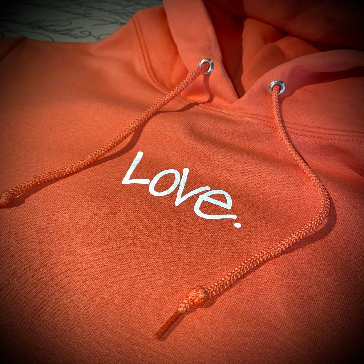 """Image of Coral x Reflective Grey """"Love...period!"""" Hoodie"""