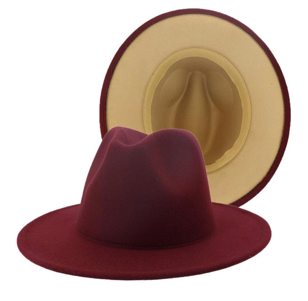 Image of Burgundy/Tan Fedora