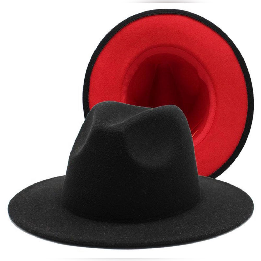 Image of Black/Red Fedora Hat