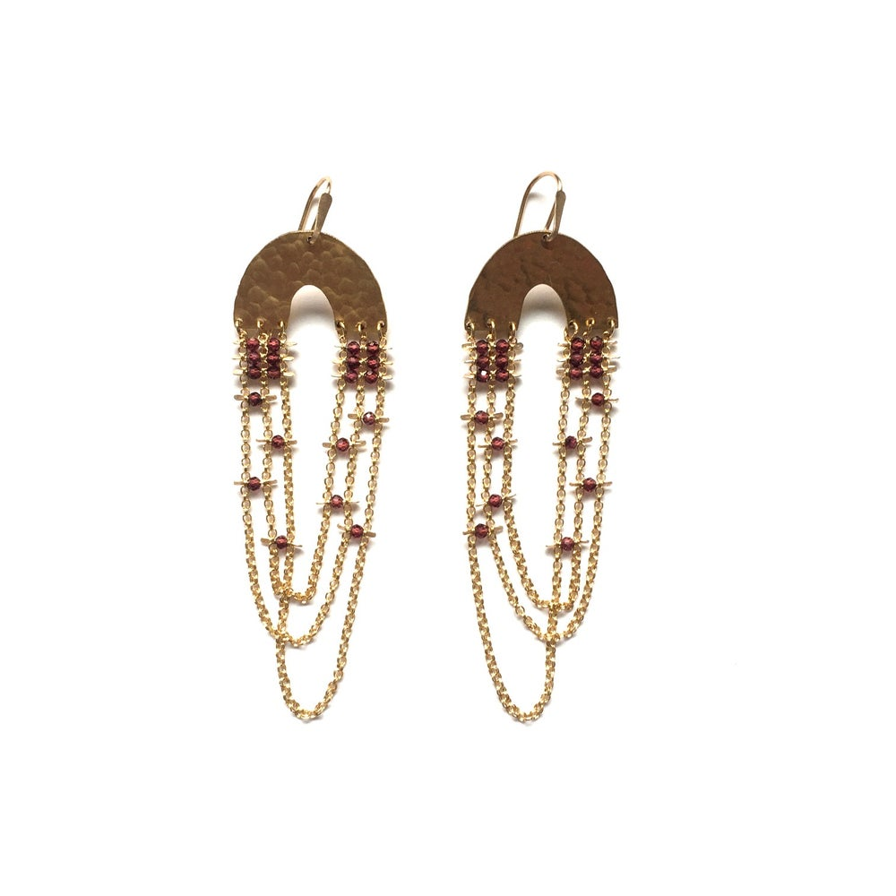 Image of Rosie Garnet Drape Earrings