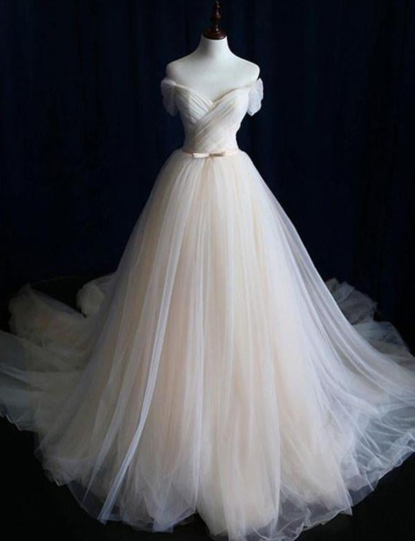 Ivory Tulle Elegant Off Shoulder Long Party Dress, Tulle Simple Wedding Dress
