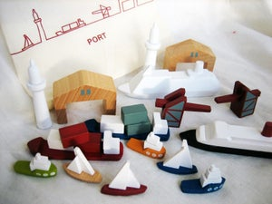Image of port and boat block set from muji