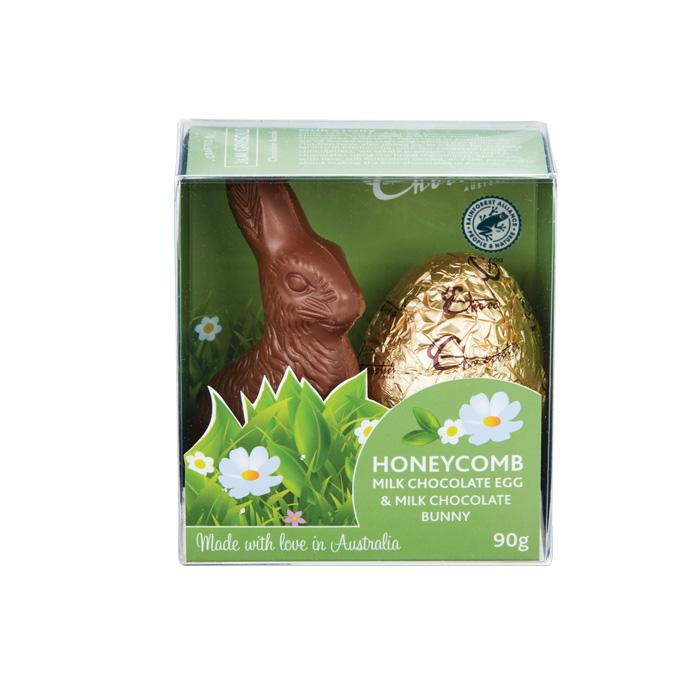 Image of Chocolatier Australia Honeycomb Milk Chocolate Egg & Milk Chocolate Bunny (90g)