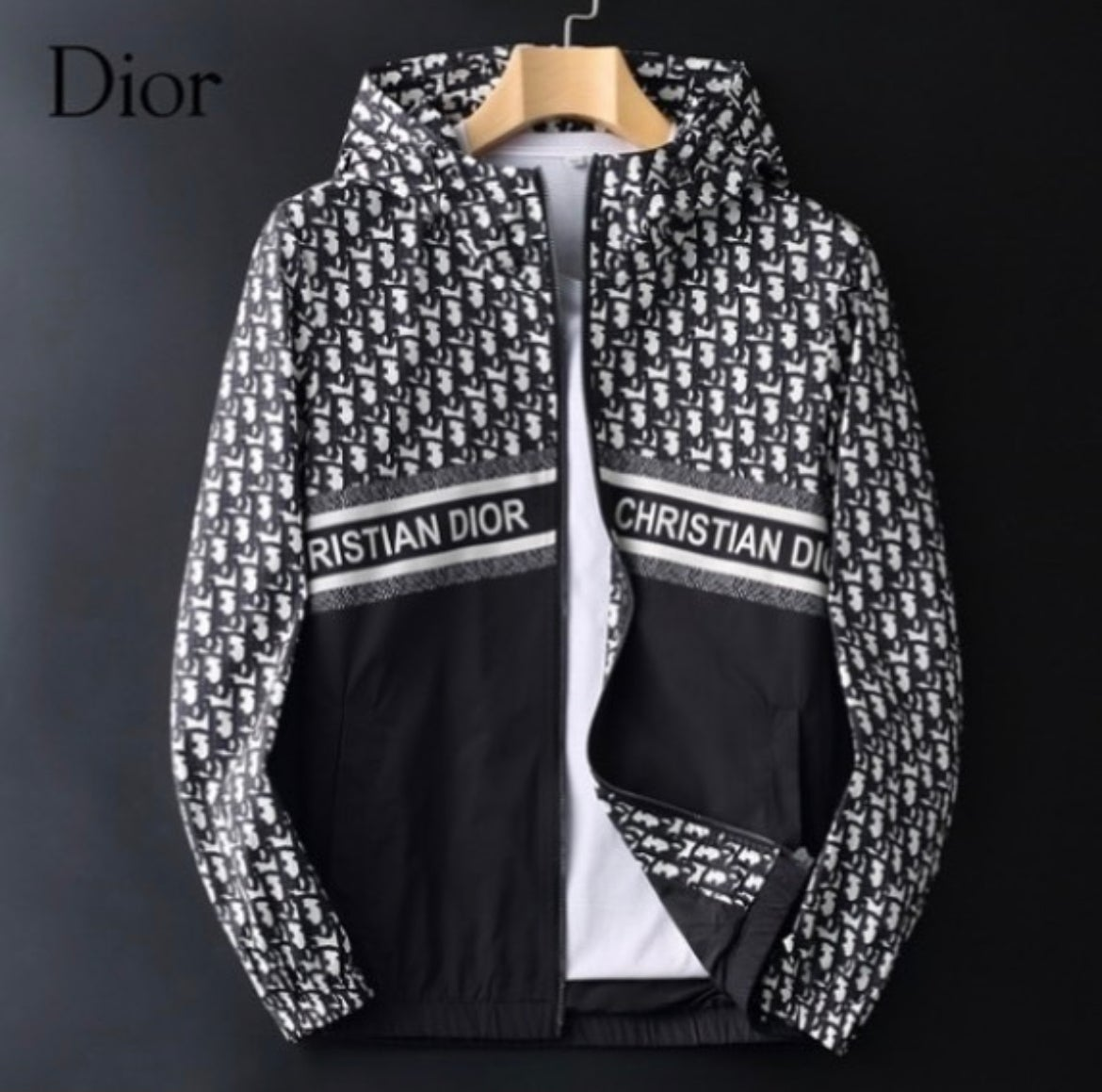 Image of Dior Print Hooded Jacket