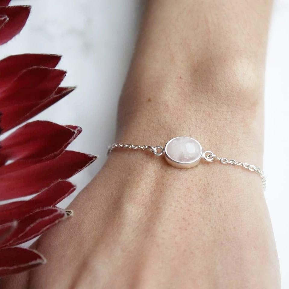 Image of Rose Quartz cabochon oval shape silver chain bracelet