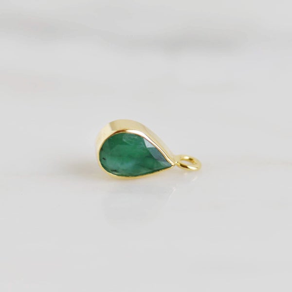 Image of Natural Colombia Emerald pear cut 14k gold necklace